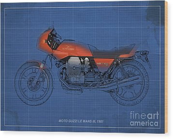 Moto Guzzi Le Mans IIi 1981 Vintage Style Wood Print by Pablo Franchi