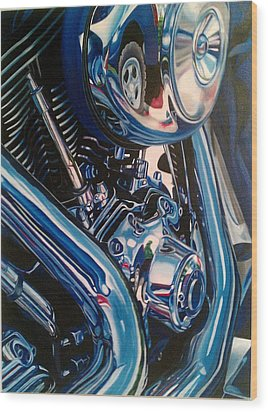 Motorcycle Abstract Wood Print by Molly Gossett