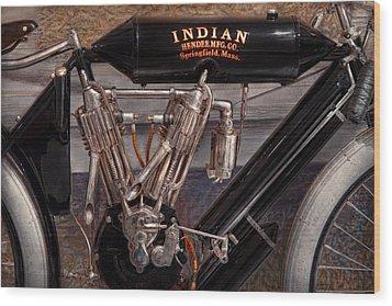 Motorcycle - An Oldie But A Goodie  Wood Print by Mike Savad