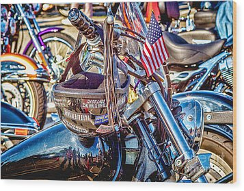 Wood Print featuring the photograph Motorcycle Helmet And Flag by Eleanor Abramson