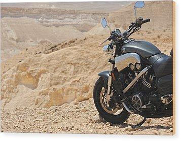 Motorcycle In A Desert Wood Print
