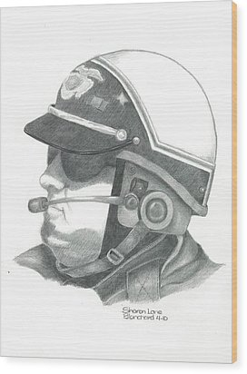 Motorcycle Officer On The Job Wood Print by Sharon Blanchard