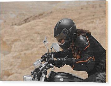 Motorcyclist In A Desert Wood Print