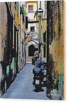 Wood Print featuring the digital art Motorcyle In Florence Alley by Jennie Breeze