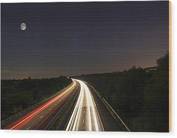 Motorway Light Trails Wood Print by Jay Harrison