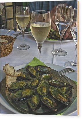Moules And Chardonnay Wood Print by Allen Sheffield