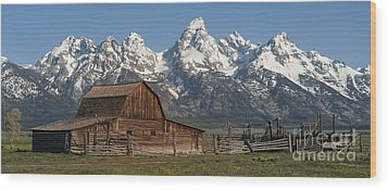 Moulton Barn - Grand Tetons I Wood Print by Sandra Bronstein