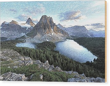 Mount Assiniboine In Pencil Wood Print