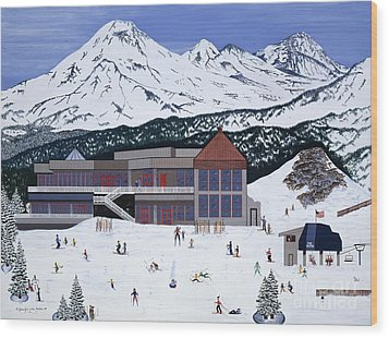 Wood Print featuring the painting Mount Bachelor by Jennifer Lake