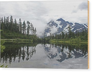 Mount Baker- Lake- Fir Trees And  Fog Wood Print