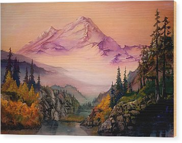Wood Print featuring the painting Mount Baker Morning by Sherry Shipley