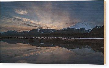 Mount Baker Sunset Wood Print by Mike Reid