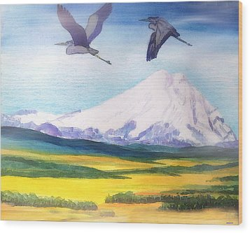 Mount Elbrus Watching Blue Herons Fly Over Sunflower Fields Wood Print