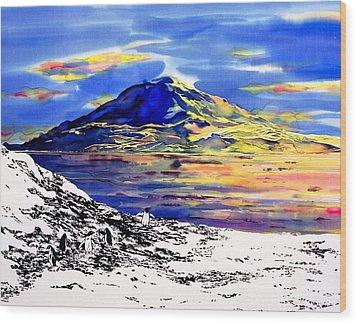 Mount Erebus Antarctica Wood Print by Carolyn Doe