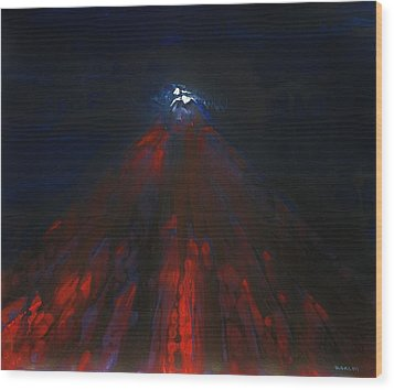 Mount Fuji By Night 2003 Wood Print