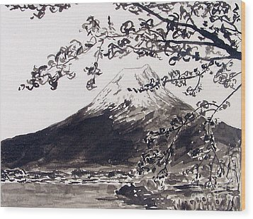 Mount Fuji Spring Blossoms Wood Print by Kevin Croitz
