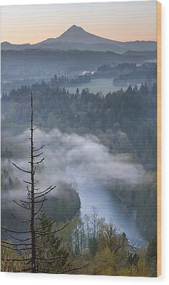 Mount Hood And Sandy River At Sunrise Wood Print by JPLDesigns
