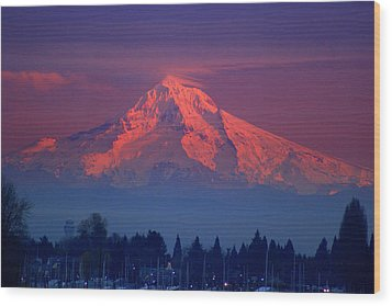 Mount Hood At Sunset Wood Print by DerekTXFactor Creative