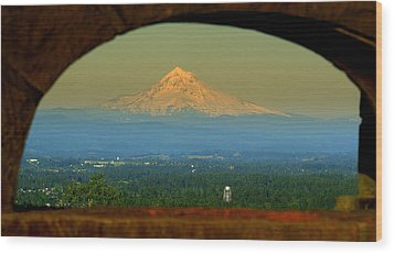 Mount Hood Framed Wood Print by DerekTXFactor Creative