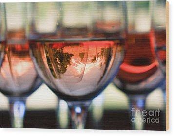 Mount Hood In A Wine Glass Wood Print by Cari Gesch