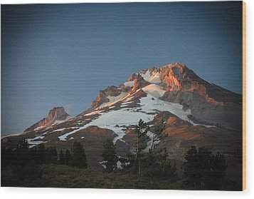 Wood Print featuring the photograph Mount Hood Summit In Warm Glow by Karen Lee Ensley
