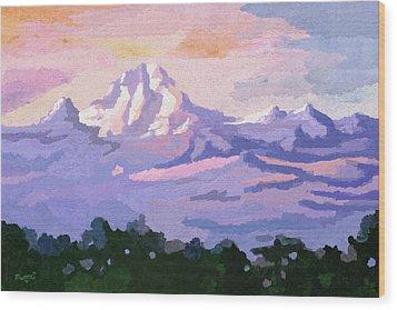 Mount Kenya At Dawn Wood Print