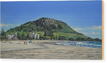 Wood Print featuring the painting Mount Maunganui Beach 151209 by Sylvia Kula