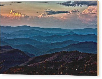 Wood Print featuring the photograph Mount Mitchell Sunset by John Haldane