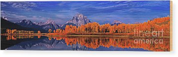 Mount Moran And Fall Color Grand Tetons Wood Print