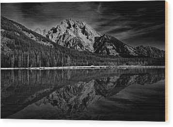 Mount Moran In Black And White Wood Print