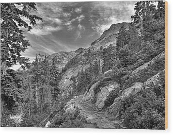 Mount Pilchuck Black And White Wood Print