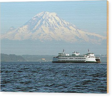 Mount Rainier And Ferry Wood Print