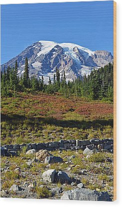 Wood Print featuring the photograph Mount Rainier by Anthony Baatz