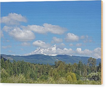 Mount Rainier As Viewed From The West Wood Print by Connie Fox