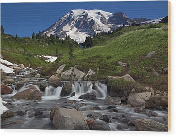 Wood Print featuring the photograph Mount Rainier At Edith Creek by Bob Noble Photography
