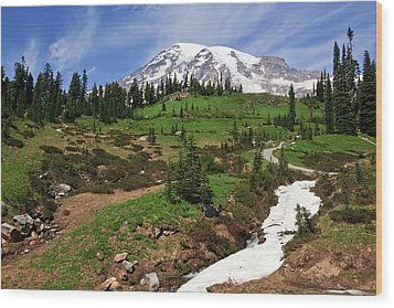 Mount Rainier At Paradise Wood Print
