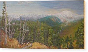 Mount Rainier  Early Morning Cascades Washington Wood Print