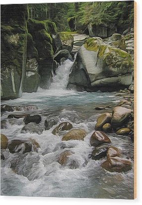 Mount Rainier Falls Wood Print