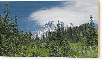 Mount Rainier Forest Wood Print