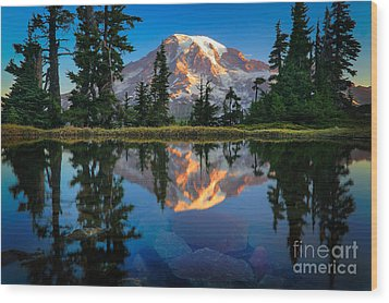 Mount Rainier From Tatoosh Range Wood Print by Inge Johnsson