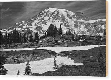 Mount Rainier From The Paradise Visitor Center Wood Print