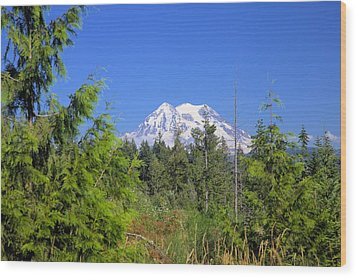 Wood Print featuring the photograph Mount Rainier by Gordon Elwell