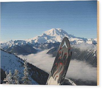 Mount Rainier Has Skis Wood Print