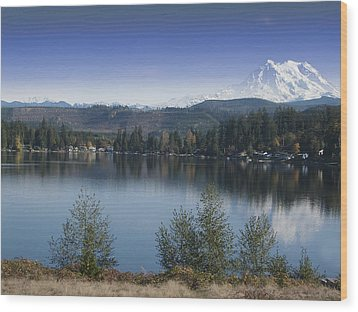 Mount Rainier In The Fall Wood Print