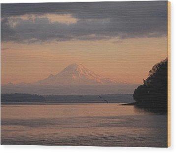 Wood Print featuring the photograph Mount Rainier Sunset by Karen Molenaar Terrell