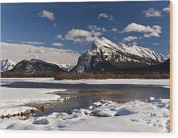 Mount Rundle Wood Print by Dee Cresswell