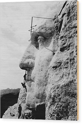 Mount Rushmore Construction Photo Wood Print by War Is Hell Store