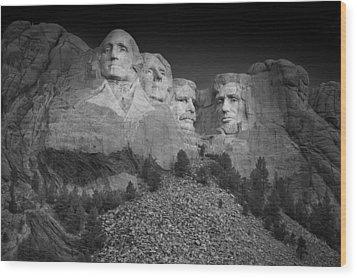 Mount Rushmore South Dakota Dawn  B W Wood Print by Steve Gadomski