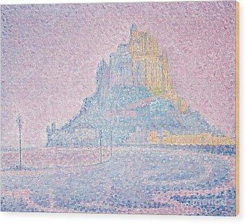 Mount Saint Michel Fog And Sun Wood Print by Paul Signac