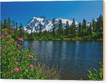 Mount Shuksan And Highwood Lake Wood Print